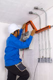 Wire man at work Stock Photography