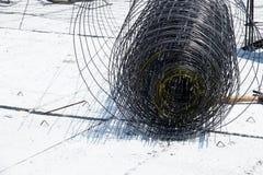 Wire Mesh on Concrete slab Royalty Free Stock Photos