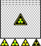 Wire Mesh Fence And Radiation Sign Stock Image