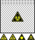 Wire Mesh Fence And Warning Sign Royalty Free Stock Photo