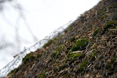 Wire mesh over moss, bark, reeds and twigs - close up thatch roof royalty free stock photos