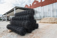 Wire mesh roll on construction. Stock Image