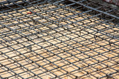 Wire mesh steel on floor at construction site Royalty Free Stock Photo