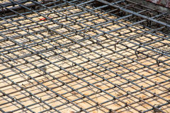 Wire mesh steel on floor at construction site Royalty Free Stock Images