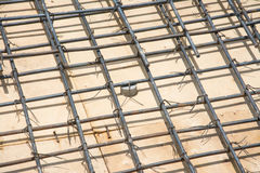 Wire mesh steel on floor at construction site Stock Photo