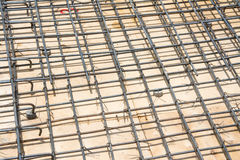 Wire mesh steel on floor at construction site Stock Photos
