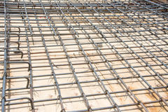 Wire mesh steel on floor at construction site Royalty Free Stock Image