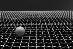Wire mesh with a white marbles Royalty Free Stock Photo