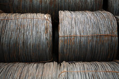Wire metal with corrosion for armature in bays Royalty Free Stock Images