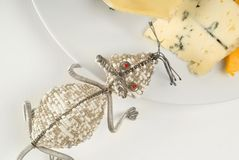 Wire mouse and cheese Stock Images