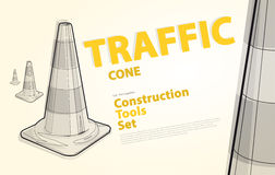 Wire nice classical traffic cone with white stripes with yellow and orange typography. Stock Photo