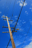 Wire Pole & Blue Sky Royalty Free Stock Images