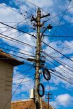 Wire Pole & blue sky stock images