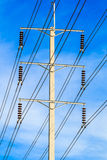 Wire pole at high voltage electrical post Stock Photos