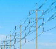Wire pole at high voltage electrical post Royalty Free Stock Images
