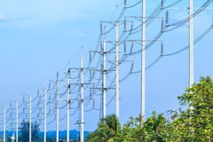 Wire pole at high voltage electrical post Stock Images