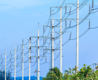 Wire pole at high voltage electrical post Royalty Free Stock Photos