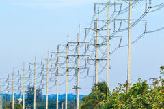 Wire pole at high voltage electrical post Stock Photo