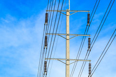 Wire pole at high voltage electrical post Royalty Free Stock Photo