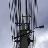 Wire pole and sky. Electricity power Royalty Free Stock Photography