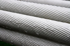 Wire Rope. Consists of several strands laid (or 'twisted') together like a helix. Each strand is likewise made of metal wires laid together like a helix Royalty Free Stock Photo