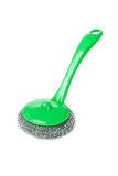 Wire scourer with green plastic handle Royalty Free Stock Photo