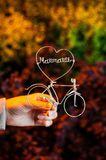 Wire in a shape of bicycle and heart stock images