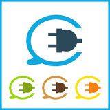 Wire, socket and electric plug vector design Stock Photos
