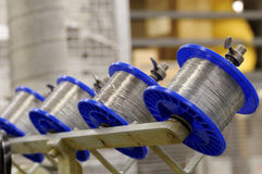 Wire spools. Spools of wire on a stitching machine in a printing plant Royalty Free Stock Photo