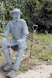 Wire Statue of a Man. Wire mesh statue of a man in the gardens at Newstead Abbey in Nottinghamshire royalty free stock photo