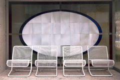 Wire steel garden chairs Royalty Free Stock Photo