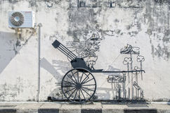 Wire steel rod wire art by local artist which is located at Cannon street in Georgetown, Penang Royalty Free Stock Images