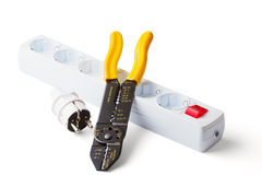 Wire stripper, plug and socket Stock Photo