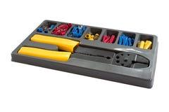 Wire stripper - solderless terminal kit. Wire stripper. Solderless terminal kit  on the white background Stock Photos