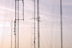 Wire structure. Detail on the wire structure of several electrical/communication towers Stock Photos