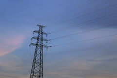 Wire tower sunset Royalty Free Stock Photography