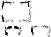 Wire wand borders on white. Elements designs of wire wand borders in black and on white Royalty Free Stock Images