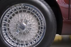 Wire wheel. Close-up wire wheels of classic car stock photo