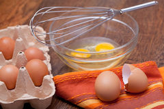 Wire whisk and eggs Stock Image
