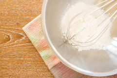 Wire whisk in mixing bowl, and cloth Royalty Free Stock Photo
