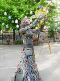 Wire woman setting the bird free Royalty Free Stock Photography