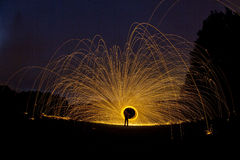 Wire wool spin that looks like firework Stock Photo