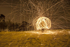 Wire wool spin that looks like firework Royalty Free Stock Image