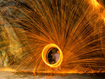 Wire wool spinning Royalty Free Stock Images