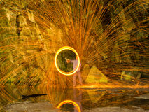Wire wool spinning Royalty Free Stock Photography