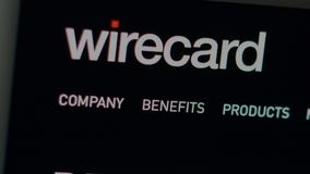Wirecard-Firmenwebsitehomepage Schlie?en Sie oben von Wirecard-Logo