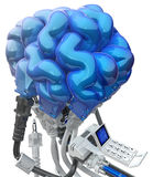 Wired Brain. 3d model, over white, isolated Royalty Free Stock Photos