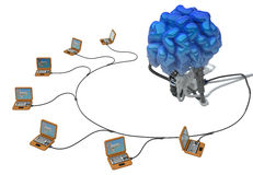 Wired Brain, Laptops. Wired brain 3d model, over white, isolated Stock Images