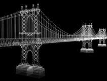 Wired bridge. Wired 3D bridge similar to Manhattan bridge Stock Photo