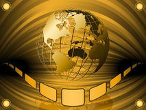Wired earth globe. Golden wired earth globe in a large presentation hall with 3d ribbon Royalty Free Stock Photos